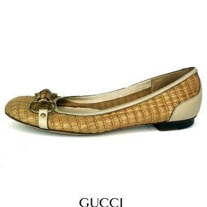 Gucci Bamboo Leather Horsebit Ballet Loafers 8B